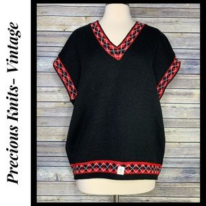 Just In! NWT Vintage 70s Argyle Sweater Vest, 24W
